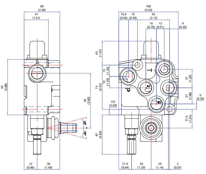 Diagrama Dimensiones Distribuidor Hidráulico